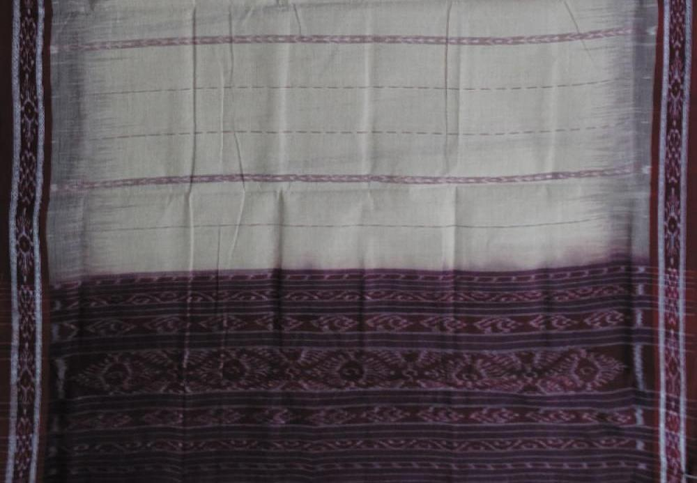 Barhampuri Off White & Maroon Ikat(Tie & Die) Cotton Saree